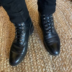 Black Leather Justin Boots Punk Goth Style